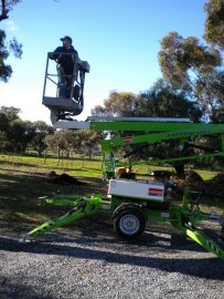Driving the cherry picker.