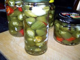 Pickled chillies, jalapenos mostly.
