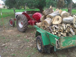 Farm trailer with at least a tonne of wood.