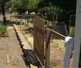 Fencing in the meat bird/fruit area.