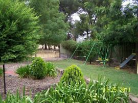 Ugly garden and swing set.