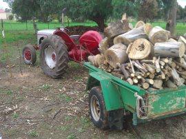 The farm trailer earning its keep.