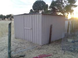 This was going to be our milking shed. Now it's a farrowing shed. Either way, it's recycled and free!