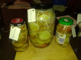 Pickled dill cucumber.