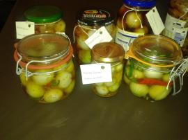 I pickled the smaller onions after our harvest, and experimented with solutions and things like chillies. YUM!
