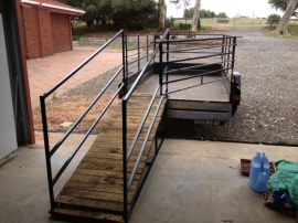The stock ramp against the trailer.