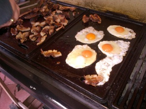 Home-made, home-grown breakfast BBQ. Yum!