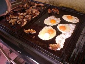 Home-made, home-grown breakfast BBQ. Yum!