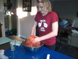 Gemma getting her hands dirty. Literally.