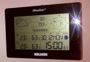 The first reading from my new weather station, before the outside sensors were installed.
