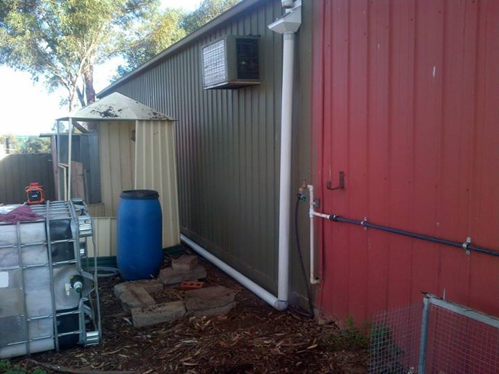 This side of the shed was easy, as it was clearly higher than the inlet and was straight runs.