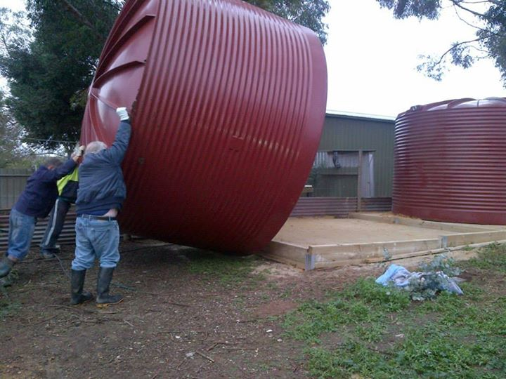 The second tank going in.
