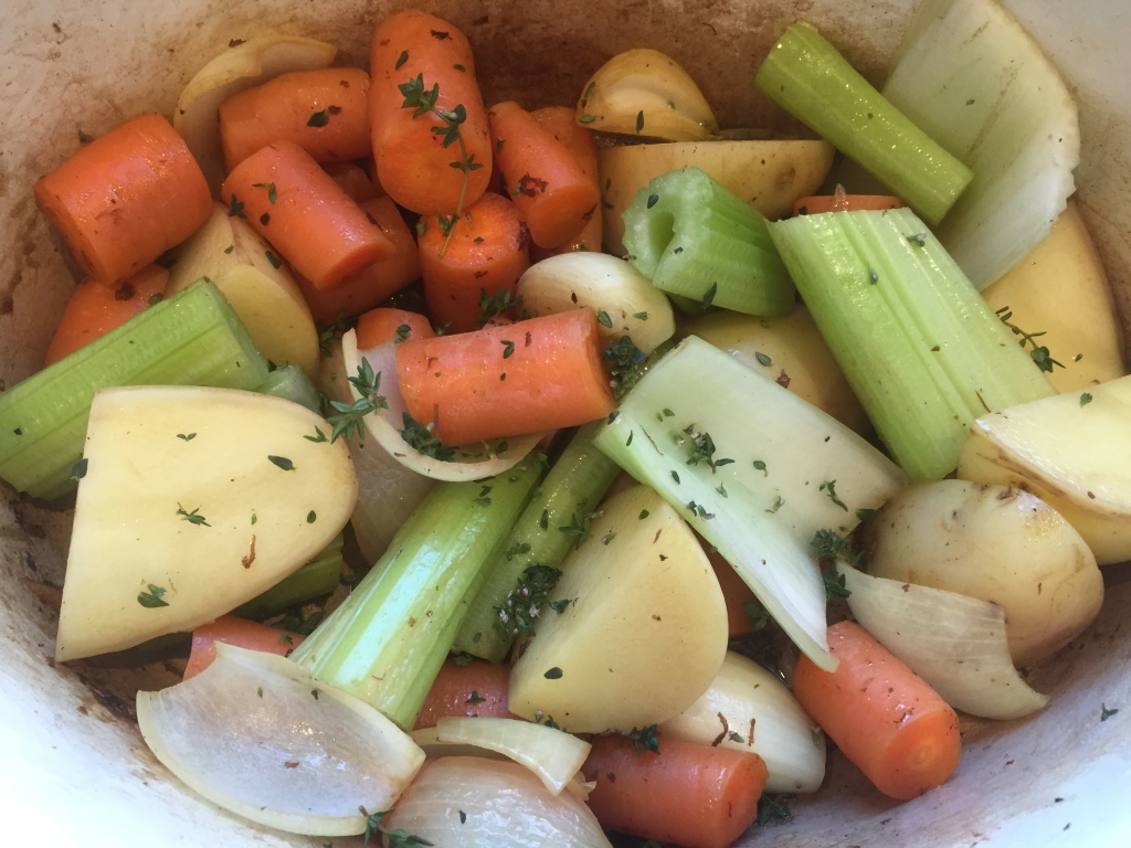 As always a mix of carrot, onion, celery, and as an added bonus potato!